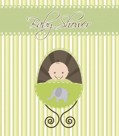 baby shower card with baby boy. vector illustration Vector
