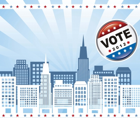 united states election vote with buildings over blue background. vector Stock Vector - 15136054