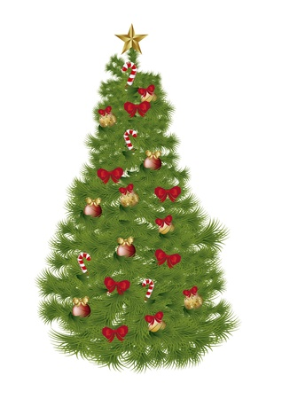 fir tree balls: christmas tree isolated over white background. vector illustration