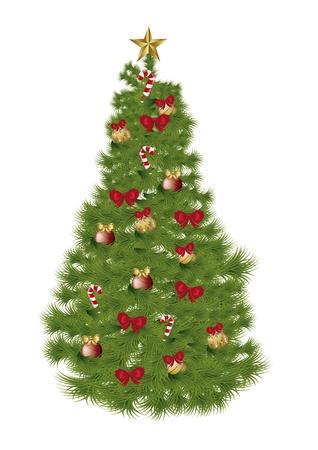 arboles de caricatura: �rbol de Navidad aislado sobre fondo blanco. ilustraci�n vectorial