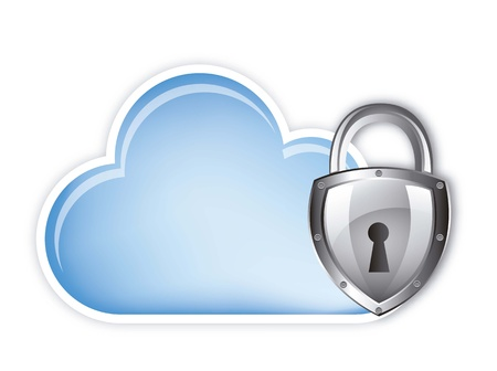 protected database: cloud computing security over white background.vector Illustration