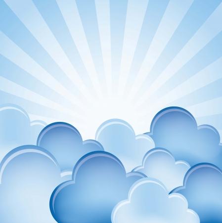 trekken: blauwe wolken over blauwe achtergrond. vectorillustratie