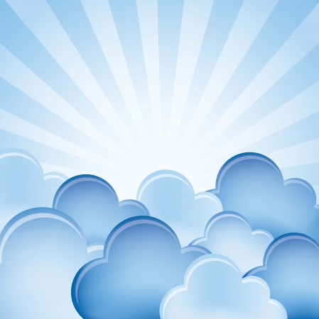 clip art draw: blue clouds over blue background. vector illustration