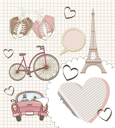 romantic elements over paper notebook, vintage style. vector illustration Vector
