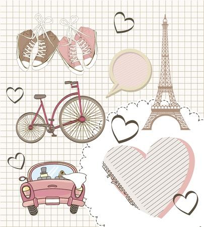 tour eiffel: romantic elements over paper notebook, vintage style. vector illustration Illustration