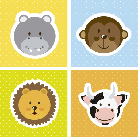 cute animals faces over squares. vector illustration Vector