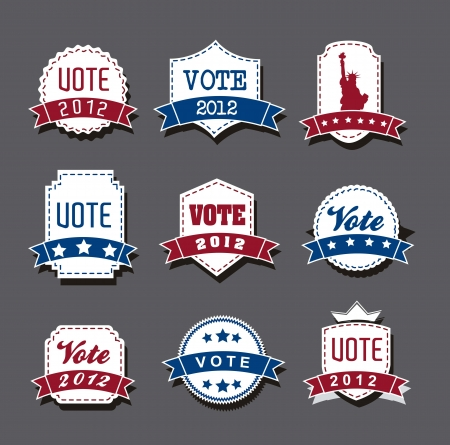 united states election vote tags over gray background. vector Vector