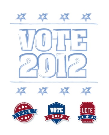 vote 2012 with blue and red tags over white background. vector Vector