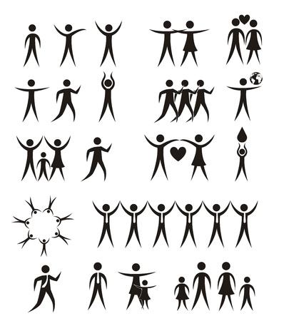 personas silueta iconos aislados sobre fondo blanco. vector