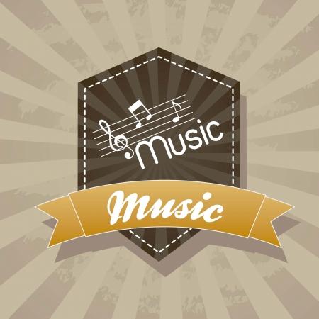 grunge music label over vintage background. vector illustration Stock Vector - 15135883