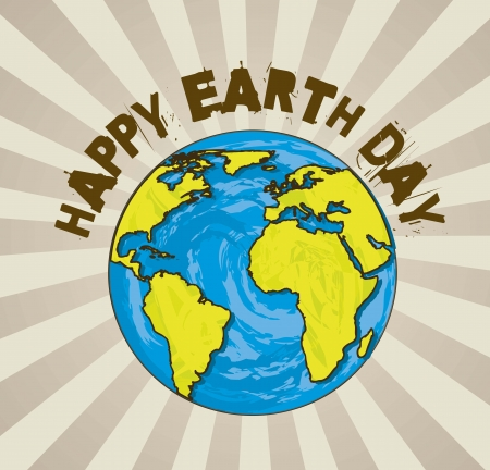 happy earth day with planet cartoon. vector illustration Vector