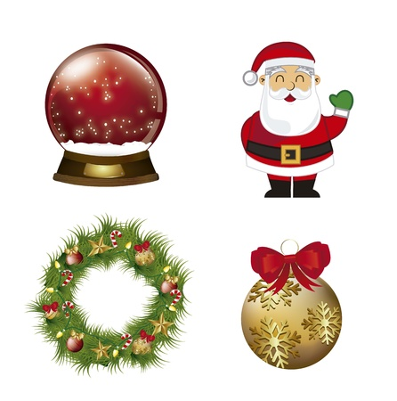 christmas elements with santa claus isolated. vector Vector