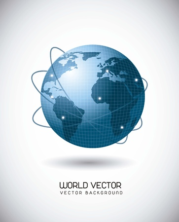 meridian: blue world with web of satellites over gray background. vector illustration