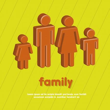 3d family over green background. vector illustraion Vetores