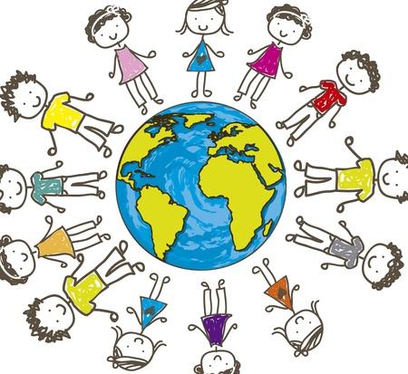 niños dibujando: niños con planeta sobre fondo blanco. ilustración vectorial