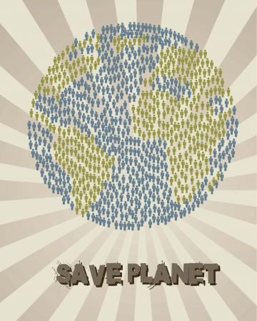 save planet with earth with men sign, vintage style. vector Vector