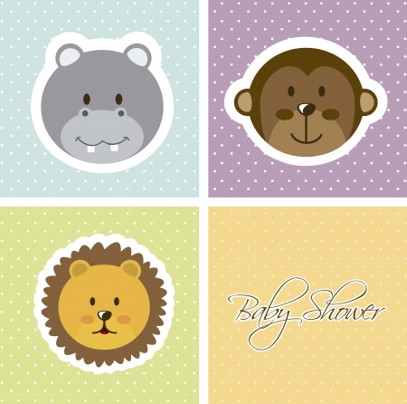baby shower card with animals faces. vector illustration Vector