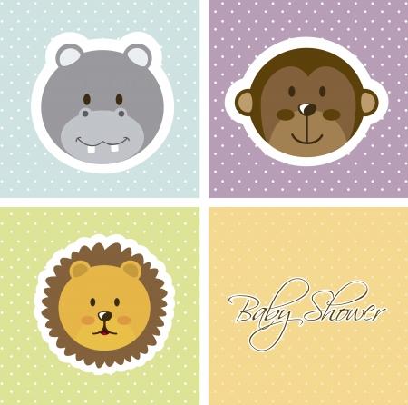 bébé douche carte avec des visages d'animaux. illustration vectorielle