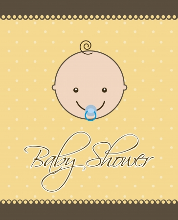 baby shower card with baby face over orange background. vector Vector