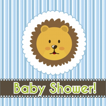 baby shower card with lion face over blue stripes. vector illustration Vector