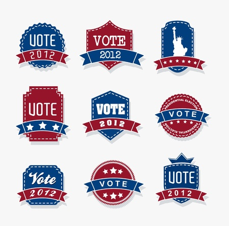 united states election vote tags over gray backgrond. vector Vector