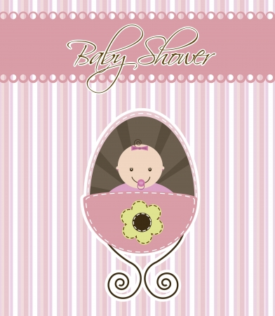 baby shower card with baby girl. vector illustration Vector