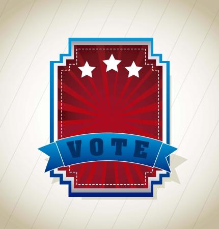 vote label: vote label over vintage background. vector illustration Illustration