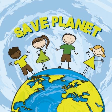 conservacion del agua: salvar el planeta con los ni�os sobre fondo azul. ilustraci�n vectorial