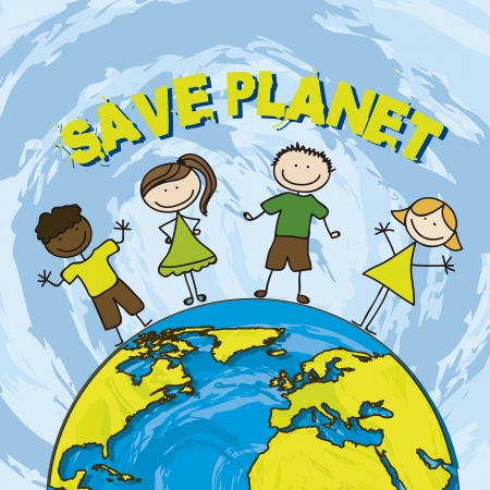 save the environment: save planet with children over blue background. vector illustration
