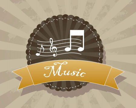 music label over grunge background. vector illustration Vector