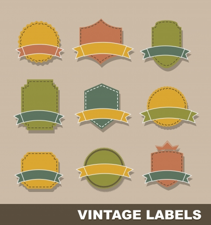 vintage blank tags over brown background Stock Vector - 15285850