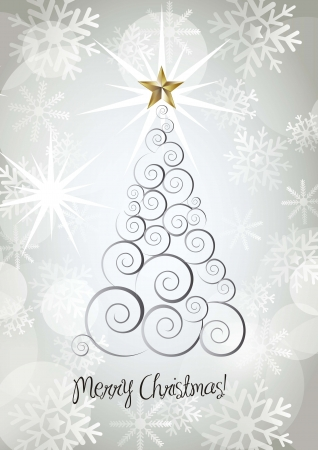 merr&ntilde,y christmas card with tree and star Stock Vector - 15285793