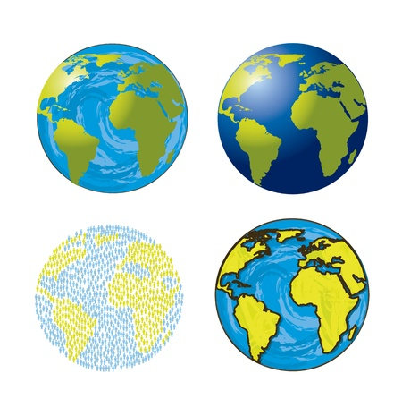 cartoon world: earths isolated over white background Illustration