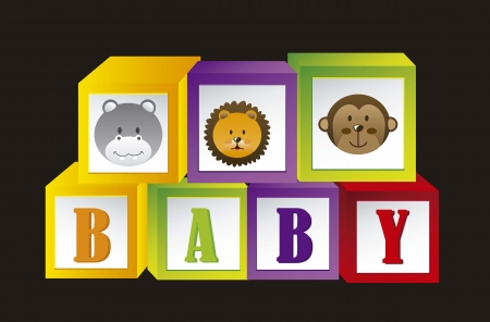 baby blocks with animals and letters Vector