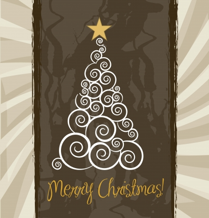 merry christmas card over vintage background Stock Vector - 15285832