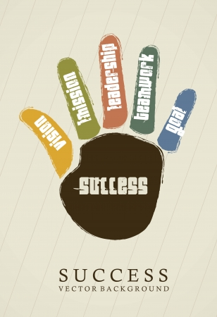 success conceptual over hand, vintage Vector