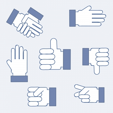 ok sign language: set blue hands isolated over blue background Illustration