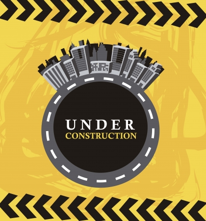 under construction with buildings over yellow background Vector