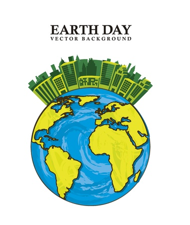 planet with buildings, earth day Stock Vector - 15285795