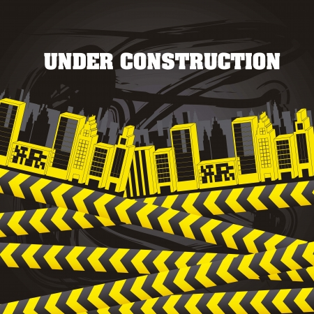 under constrution with buildings and yellow tapes Stock Vector - 15285830