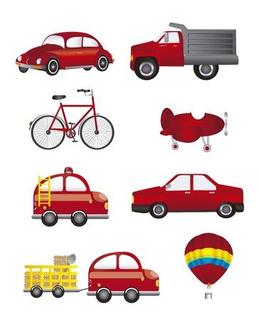 convoy: trasporto rosso isolato su sfondo bianco Vettoriali