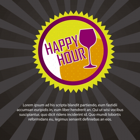 happy hour drink: happy hour tag with space for copy over black background