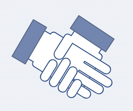 hands business over blue background Stock Vector - 15285873