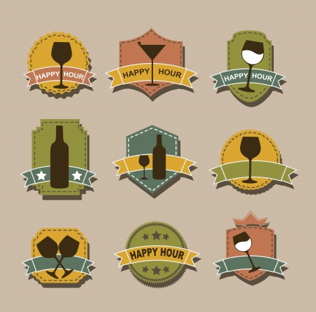 happy hour tags over brown background Vector