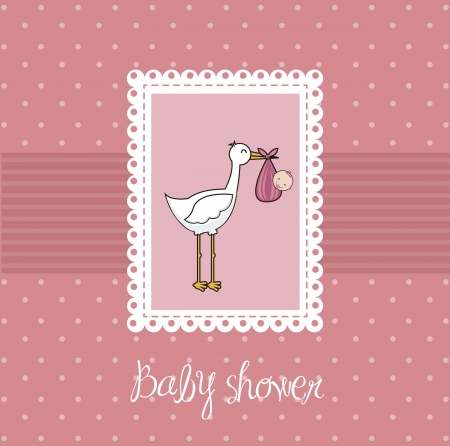 pink baby shower card with stork and baby Stock Vector - 15285855