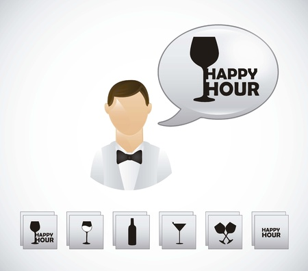 waiter with happy hour symbols over gray background Vector