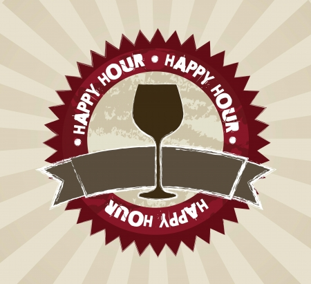 happy hour labels over brown background Stock Vector - 15276320
