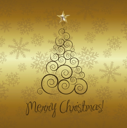 merry christmas card with tree over gold background Stock Vector - 15285810