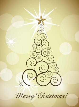 shinny: merry christmas card with tree over gold background