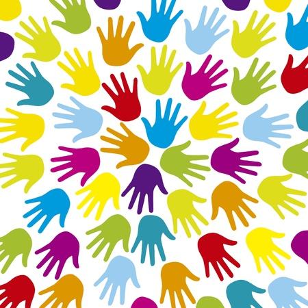 solidaridad: hads coloridas sobre fondo blanco Vectores
